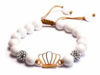 دستبند چرم و سنگ طلا(کادوولنتاین)